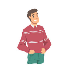 Smiling man wearing casual clothes standing with vector