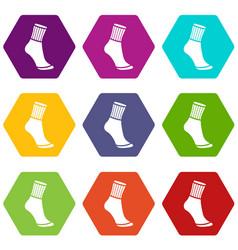 Sock icons set 9 vector