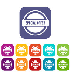 Special offer circle icons set vector