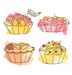 Tarts doodle cakes vector