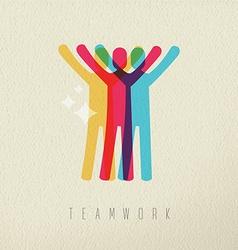 Teamwork victory concept business color design vector image
