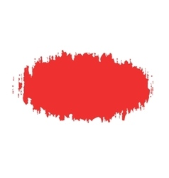 The oval spot red paint with ragged edges vector