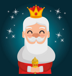 Three magic kings melchor cartoon vector