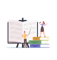 Tiny characters teacher with pointer and student vector