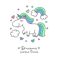 Unicorn and rainbow vector