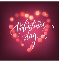 Valentines Day card with Glowing lights heart vector