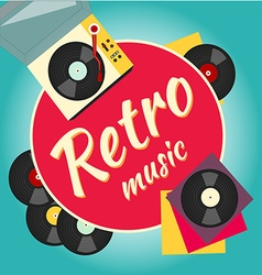 vinyl record and turntable vector image