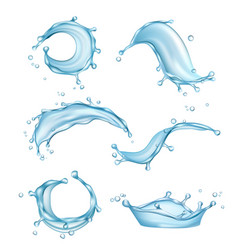 water splashes liquid drops transparent nature vector image