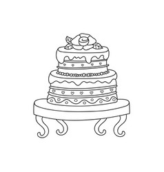 wedding cake for wedding invitations or vector image