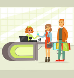 woman cashier and young couple paying for vector image
