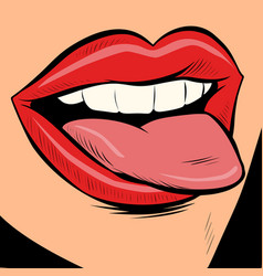 woman sexy tongue vector image