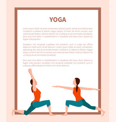 Yoga poster sporty girl icons color card vector