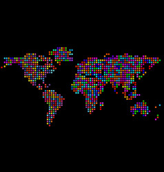 abstract world map from colorful pixels colorful vector image vector image
