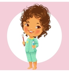 Little girl with tooth brush vector image