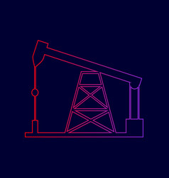 oil drilling rig sign line icon with vector image vector image