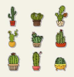 set of cute cartoon doodle of vector image