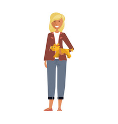 woman with her dog vector image vector image