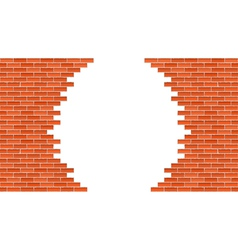 Broken brick wall vector