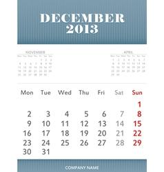 December 2013 calendar design vector image