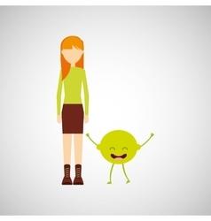 girl cartoon and lemon cute fruit icon vector image