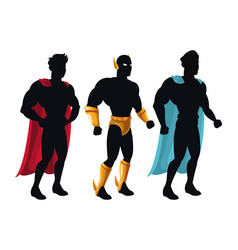 Group superhero people costume character vector