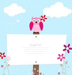 Pink owl with red flower vector image vector image