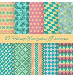 10 Vintage turquiose seamless patterns vector image vector image