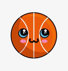 basketball balloon character kawaii vector image