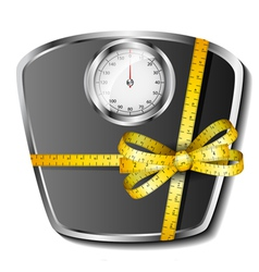 Bathroom scale with tape measure bow vector image