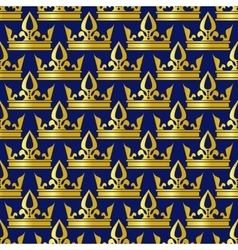 Golden crowns blue seamless pattern vector image