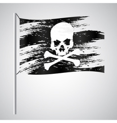 black pirate flag grunge style with skull eps10 vector image vector image