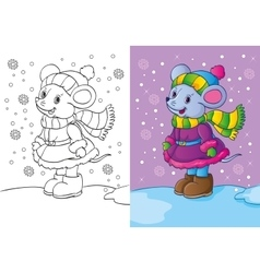 Coloring Book Of Mouse Dressed In Winter Clothes vector image vector image