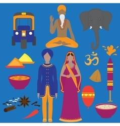 India symbols set Hinduism design elements South vector image