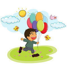 Little boy holding balloons in the park vector image vector image