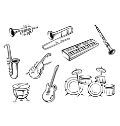 Outline strings wind keyboard and percussion vector image