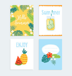 set of hand drawn summer journaling cards vector image vector image