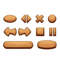 wooden buttons set for game ui cartoon vector image vector image