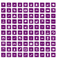 100 plane icons set grunge purple vector