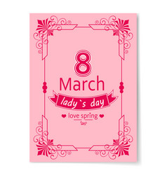 8 march womens day best wish postcard swirly frame vector image