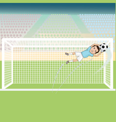 A goal keeper saving a soccer ball on a possible vector