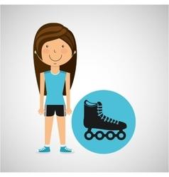 athlete girl roller skate sport style vector image