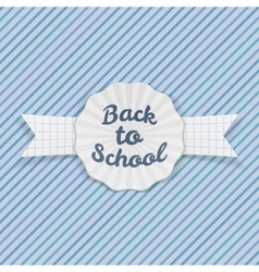 Back to School Sale Emblem with Ribbon and Shadow vector image