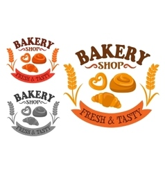 Bakery icon with sweet buns and croissant vector image