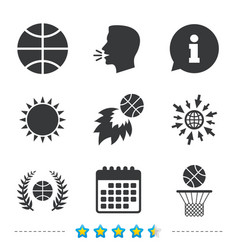 Basketball icons ball with basket and fireball vector
