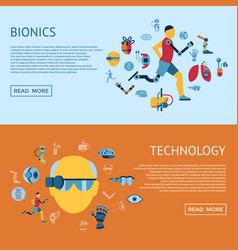 bionics and artificial intelligence icon set vector image