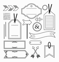 black outline empty and blank tags and labels set vector image