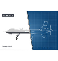 Blueprint military drone in outline style vector