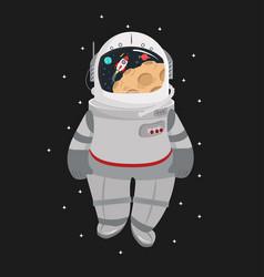 cartoon astronaut helmet in a space vector image