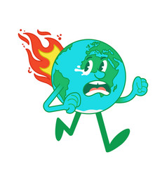Cartoon character earth in flame vector