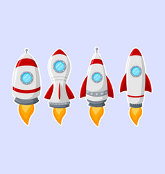 cartoon rocket ship collection isolated on white b vector image